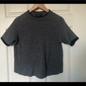 Zara Knit Short Sleeve Sweater Round Neck Sz L
